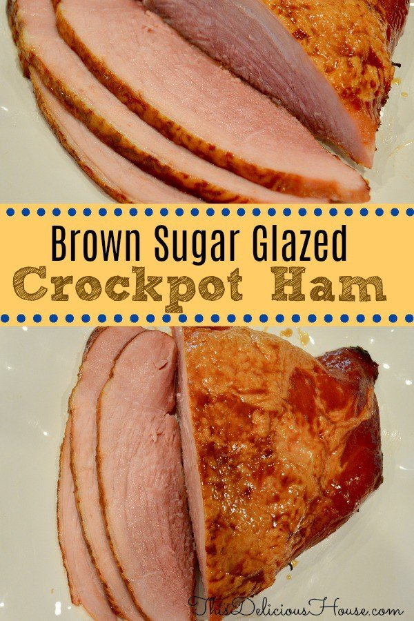 Slow Cooker Ham with Brown Sugar Glaze on a white plate