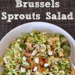 Brussels sprouts salad with raisins feta and sunflower seeds