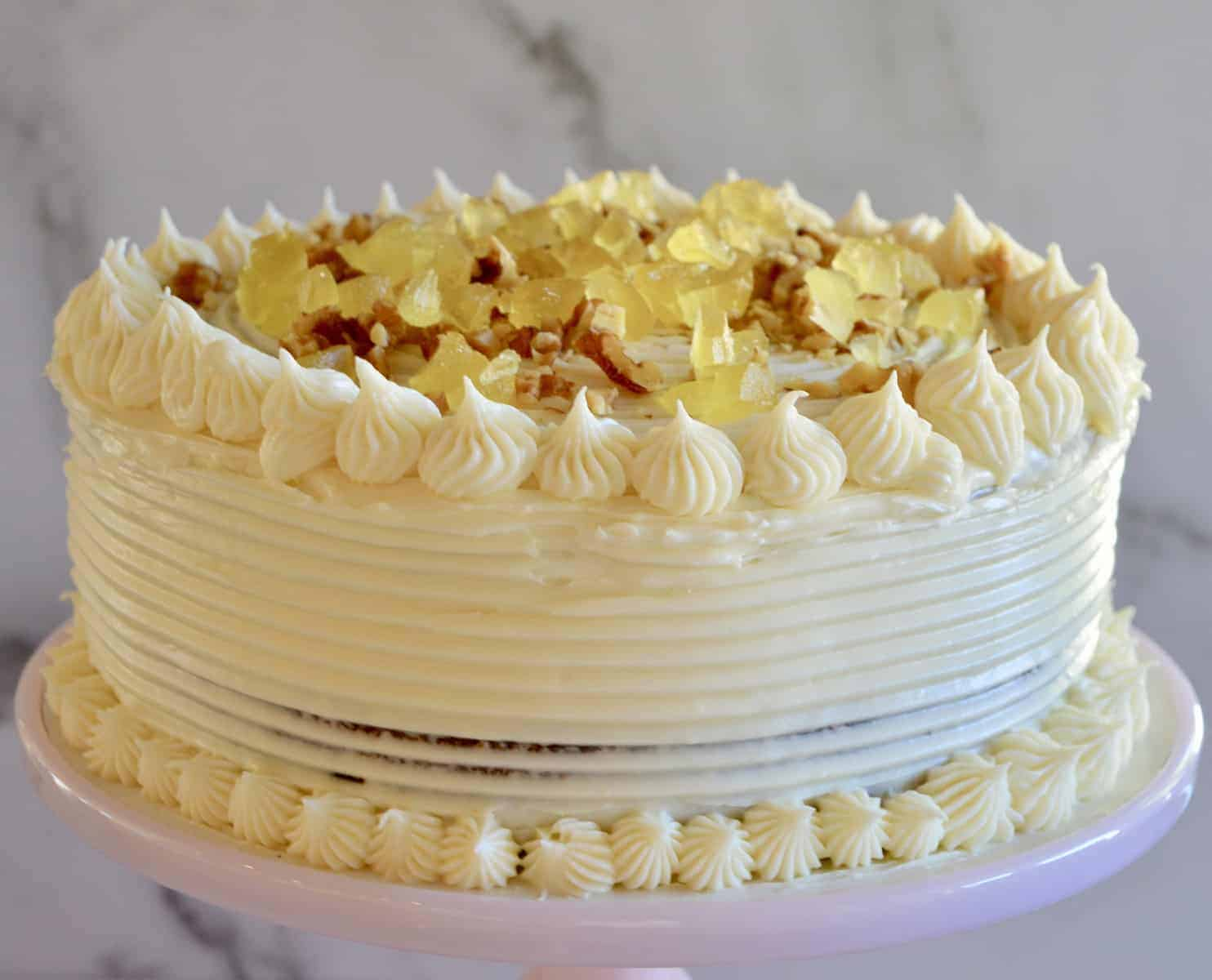 Carrot Pineapple Cake with candied pineapple topping