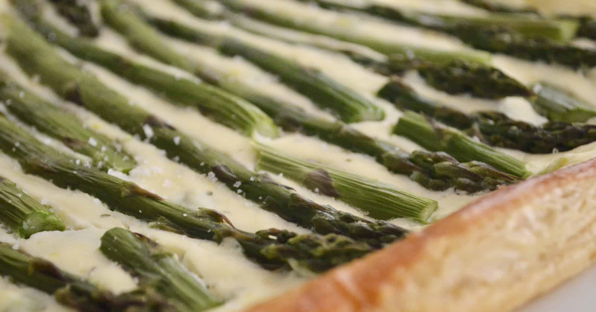 Asparagus Tart with Ricotta on a platter