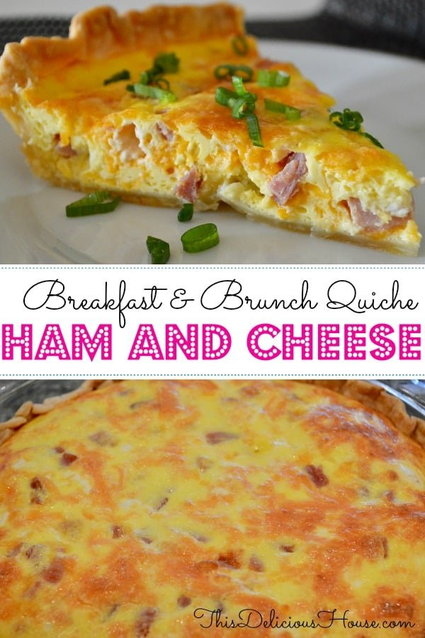 Ham and Cheese Quiche is an easy make-ahead breakfast brunch egg recipe! Made with pie crust, ham, cheddar, and eggs, this can be frozen ahead.  #hamandcheese #breakfastquiche