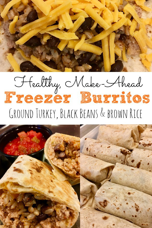 make ahead freezer burritos with ground turkey and black beans