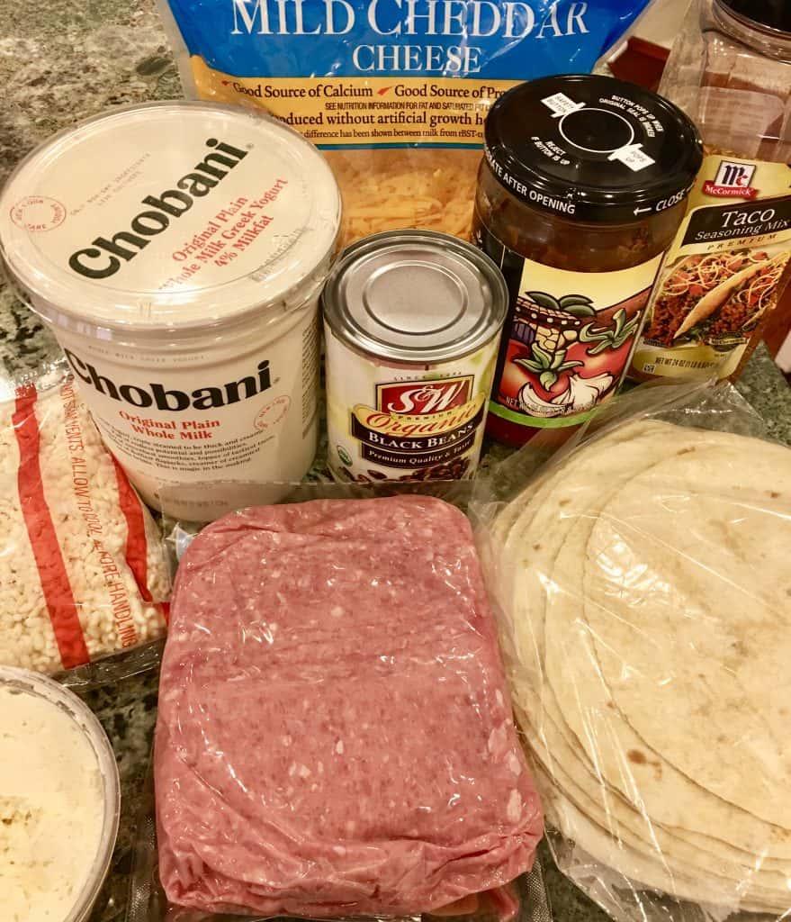 ingredients include salsa, greek yogurt, ground turkey, and black beans.