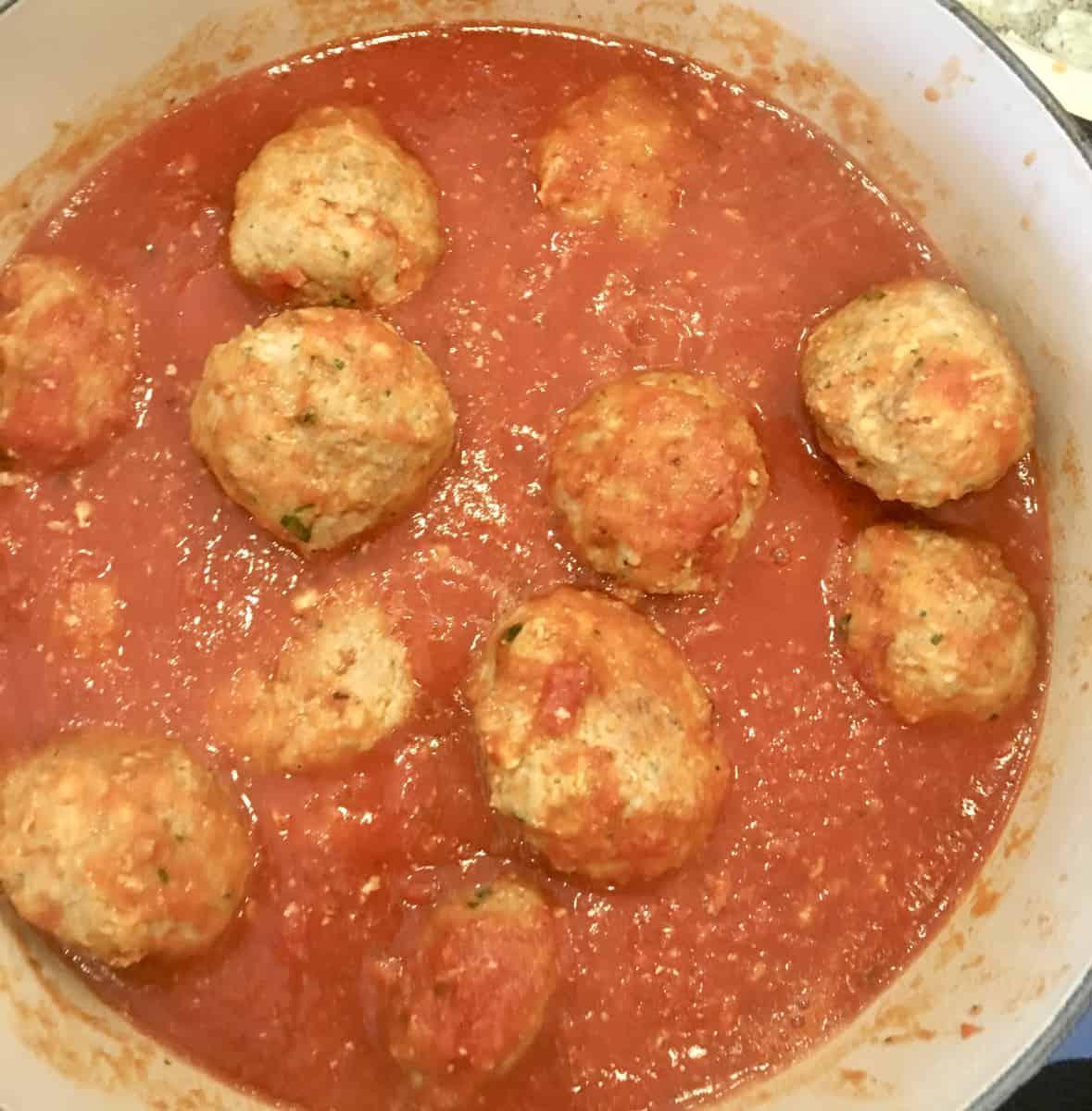 balls in the marinara sauce.