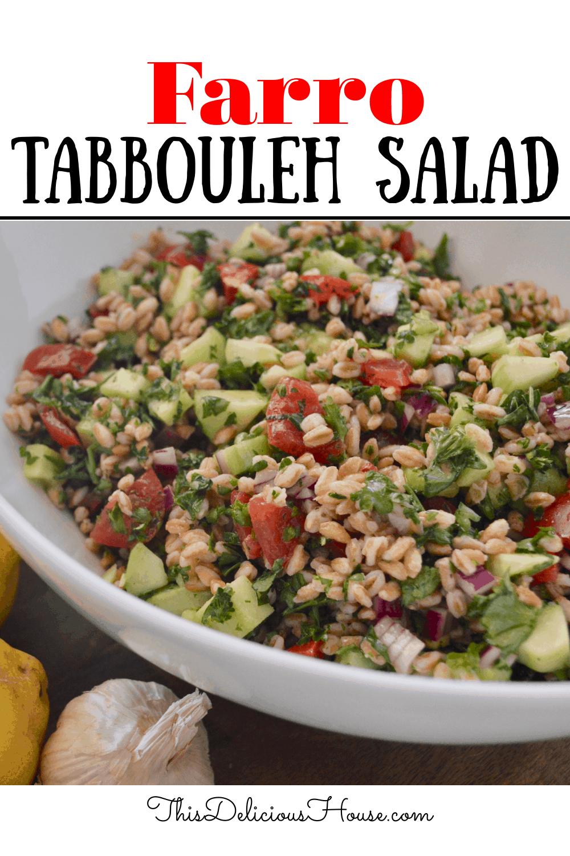 Farro Tabbouleh Salad pinterest image.