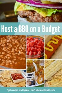 Budget BBQ Recipes and tips that are easy and fun! Host a barbecue and save money. Includes hamburgers, hot dogs, corn, chips, beans, watermelon and drinks! #budgetbbq #barbeque #grilling #grillingrecipes #bbqrecipes #easybbq #budgetfood #budgetrecipes