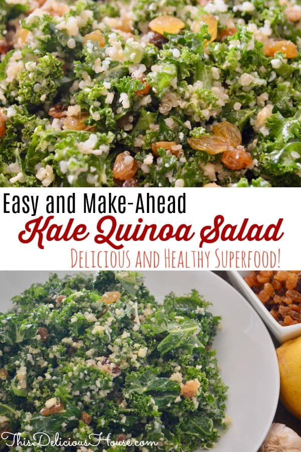 easy and make ahead kale quinoa salad with raisins, walnuts, parmesan, and a lemon dressing