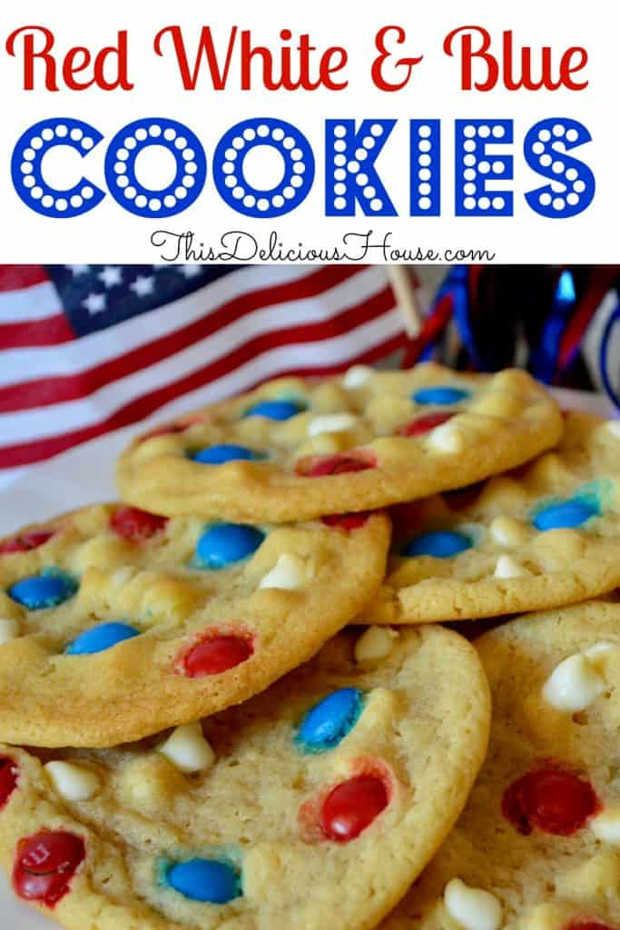 patriotic red white and blue M&M cookies with American flag in background