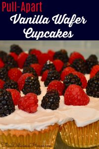 Pull-Apart Vanilla-Wafer Cupcakes with mixed berry topping