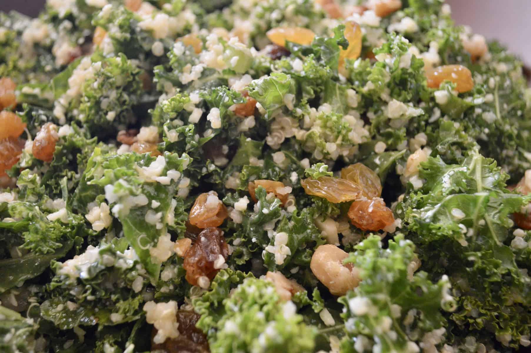 Kale Quinoa Salad with raisins and parmesan
