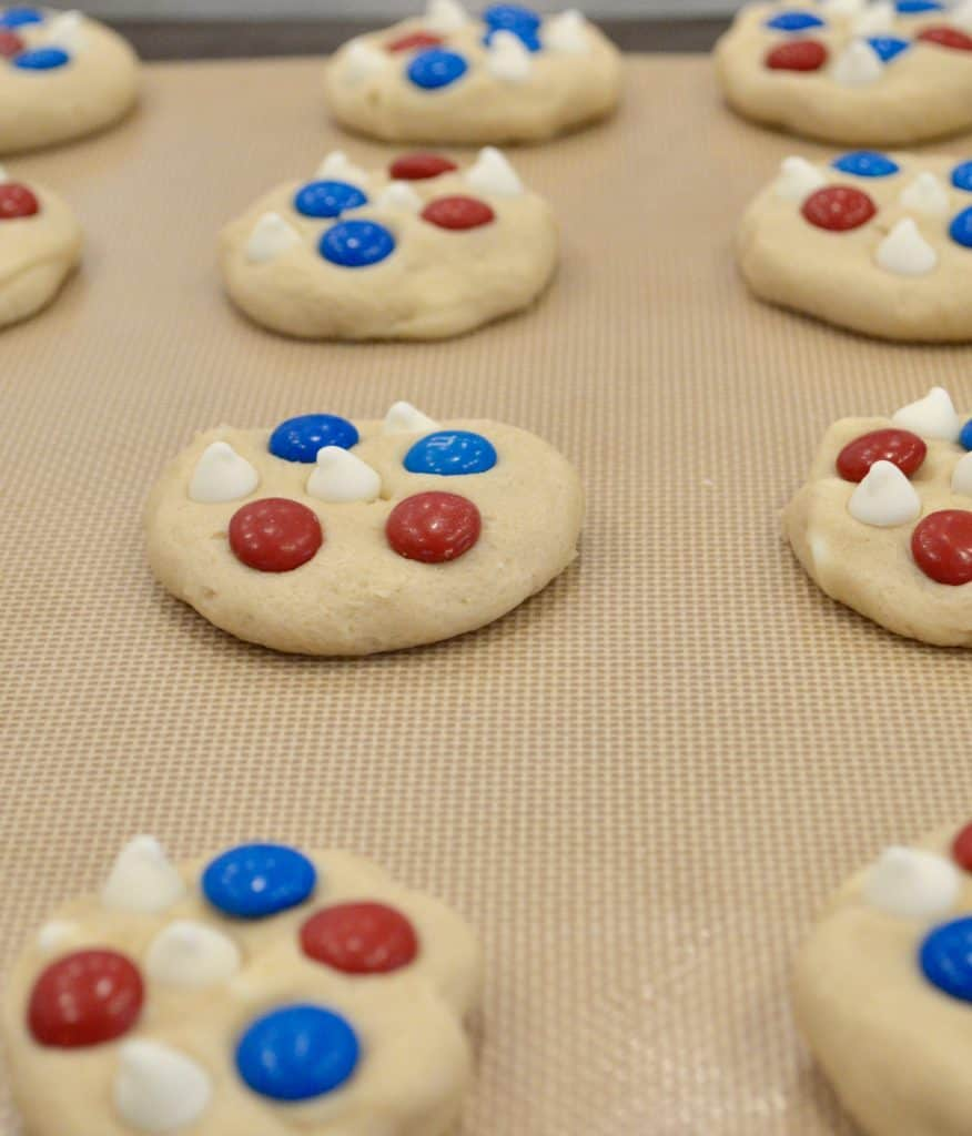 4th of July Cookies on a baking sheet