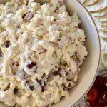 Rotisserie Chicken Salad with Grapes and apples is an easy make ahead appetizer or sandwich spread that is make with store-bought rotisserie chicken. Perfect for a baby shower or bridal shower. #chickensalad #rotisseriechicken #appetizer #bridalshower #babyshower #easyrecipe #makeahedrecipe #brunch #greekyogurt #grapes #apples