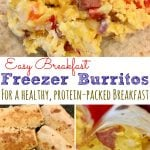 Freezer Breakfast Burritos with sausage and bell pepper served with salsa