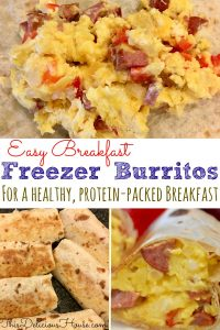 Freezer Breakfast Burritos with eggs turkey sausage and bell peppers