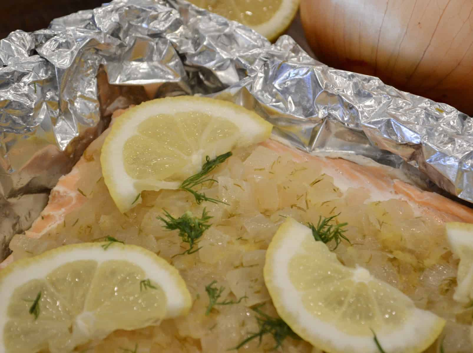 Salmon in Foil with caramelized onions lemon and dill
