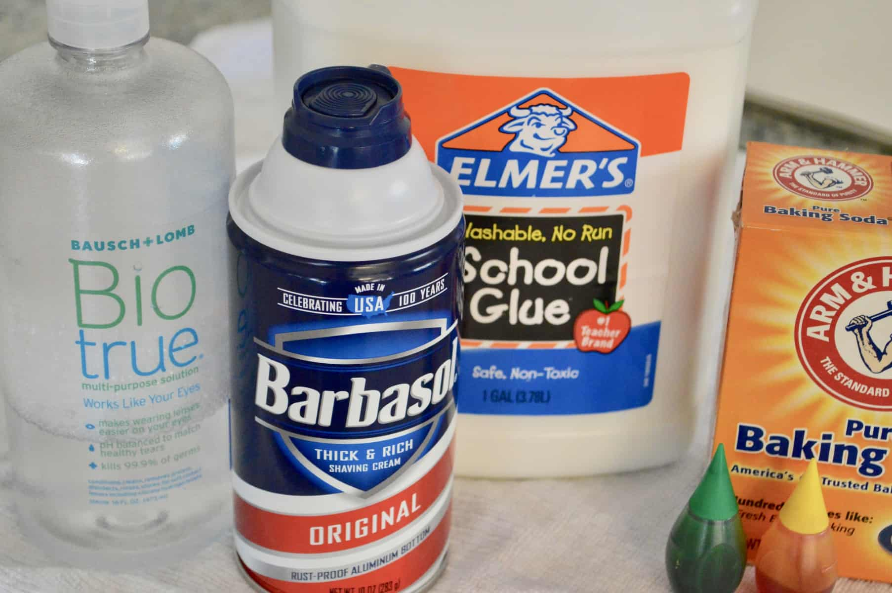 ingredients including glue, baking soda, dye, shaving cream, and contact solution.