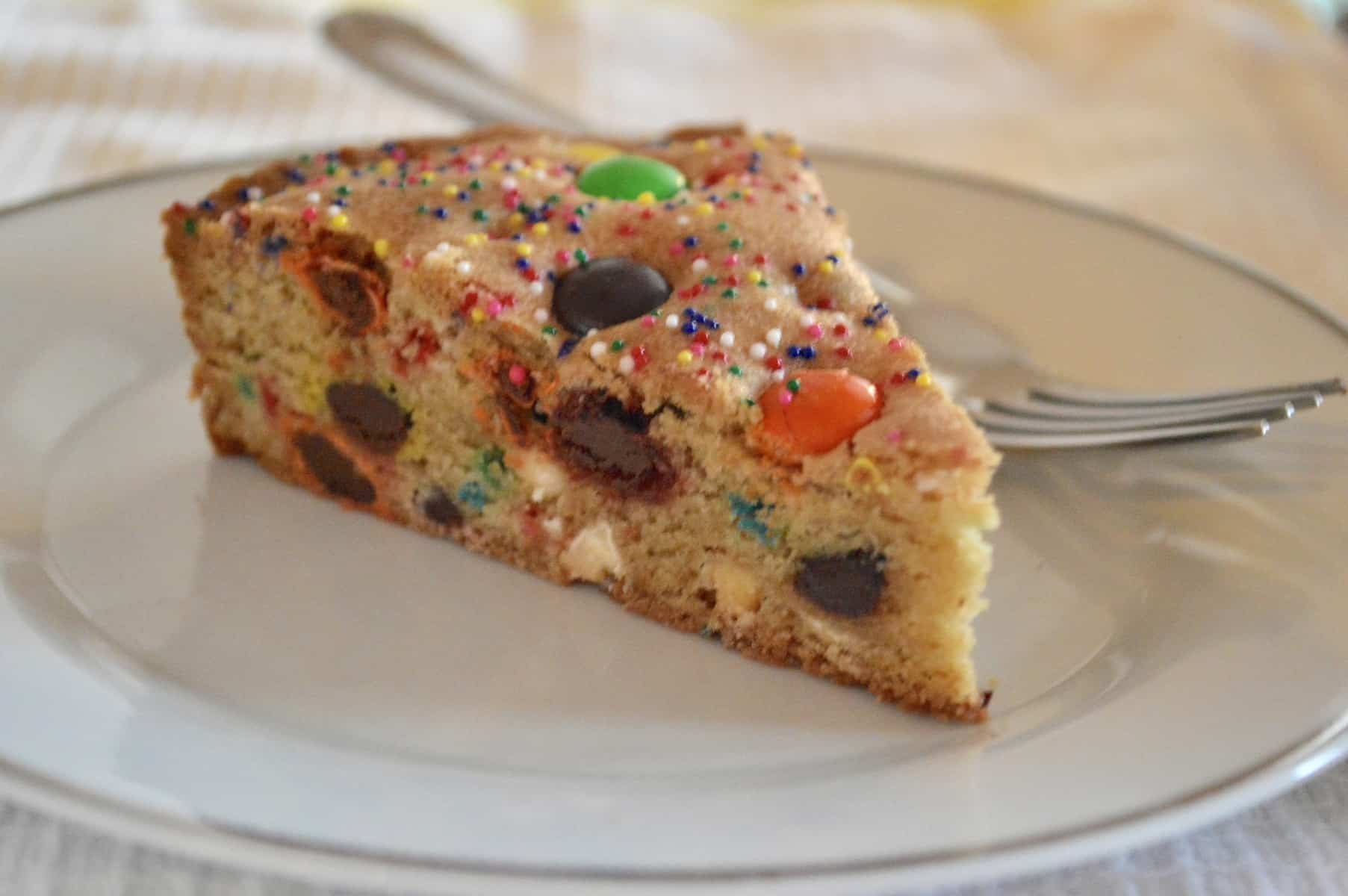 Loaded Cookie Pie with M&M's and sprinkles