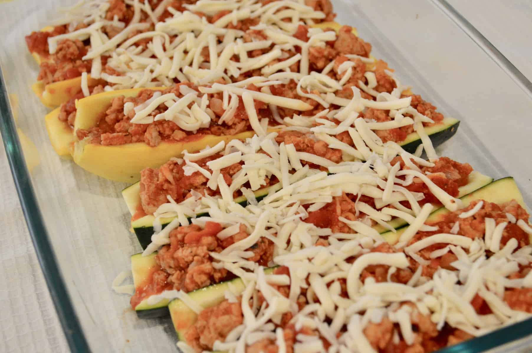 Stuffed Zucchini Boats with lean ground turkey