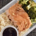 Meal Prep Salmon & Broccoli. Meal prep for the week with this healthy, clean eating, recipe for weight loss. Great for lunch or dinner, this easy Salmon & Broccoli with brown rice and teriyaki sauce is simple and delicious. #mealprep #mealplanning #lunchrecipe #dinnerrecipe #sheetpanrecipe #sesamesalmon #roastedbroccoli #healthy #weightloss #cleaneating #fortheweek