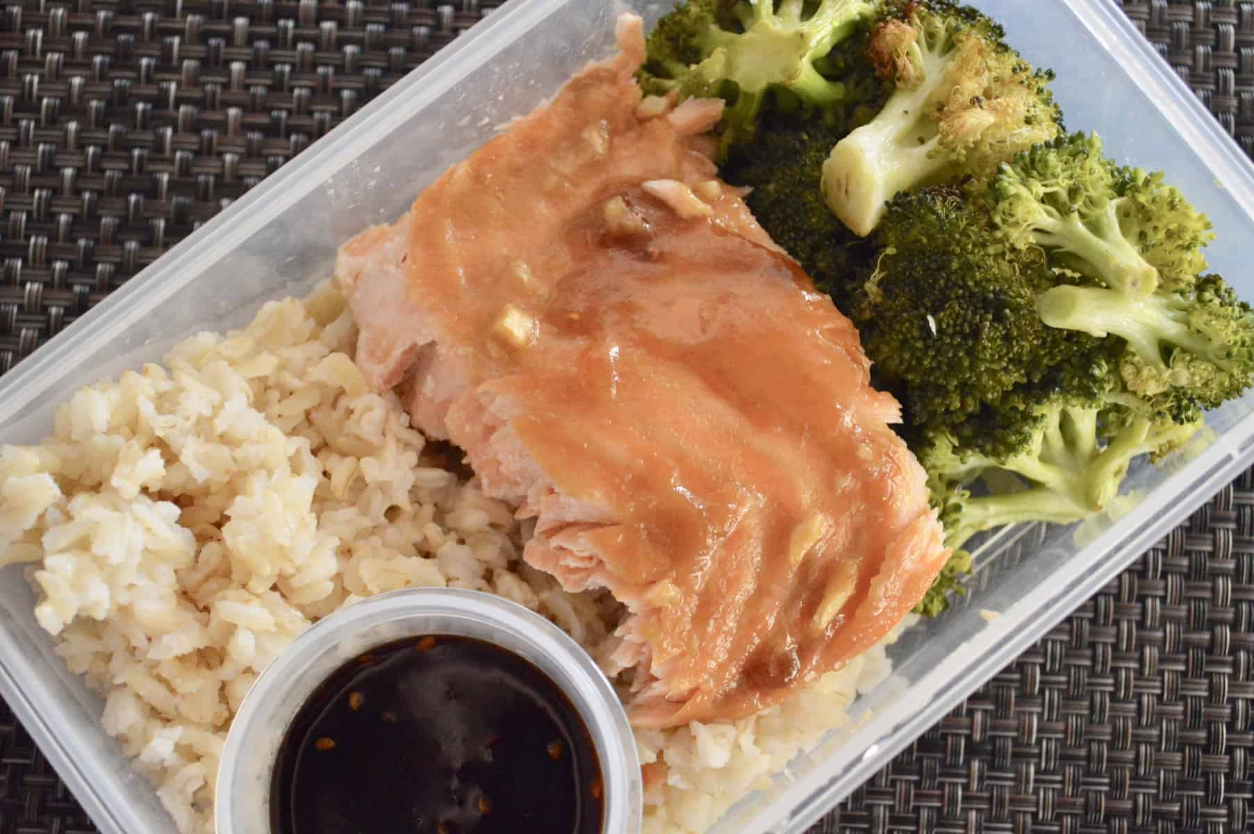 Meal Prep Salmon and Broccoli with teriyaki sauce
