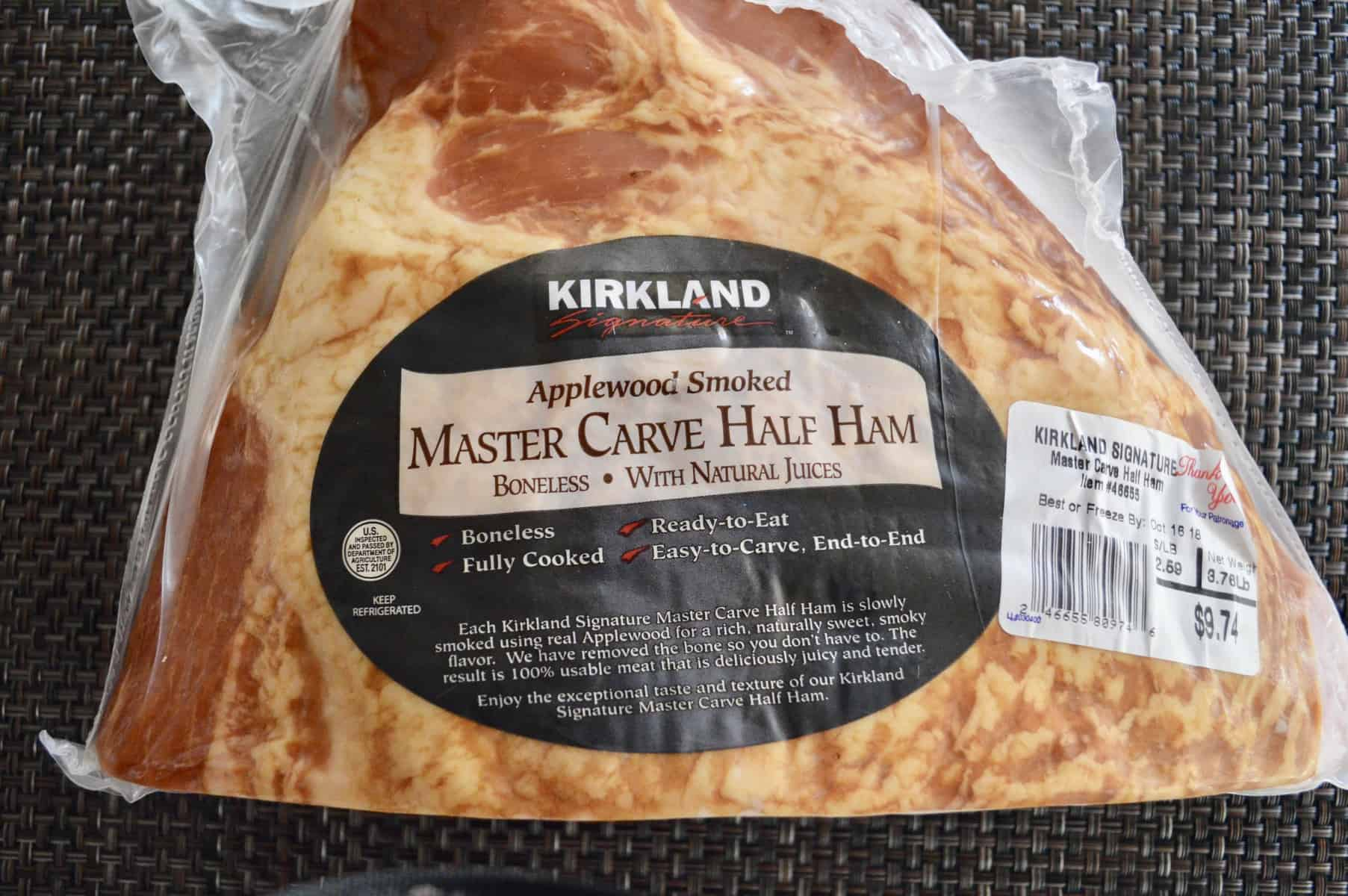 Kirkland Master Carve Half Ham on a brown place mat