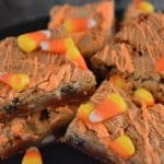 Candy Corn Blondies on a black background.