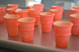 pink spray painted mini cake cones