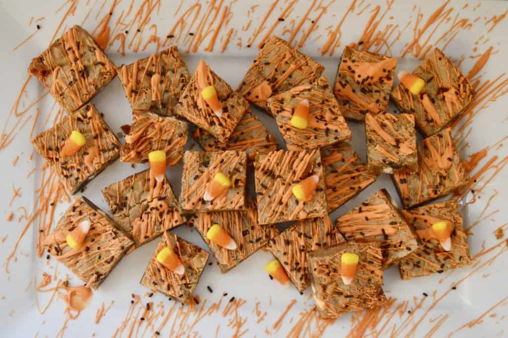 Candy Corn Blondies Bars with white chocolate and chocolate chips and sprinkles