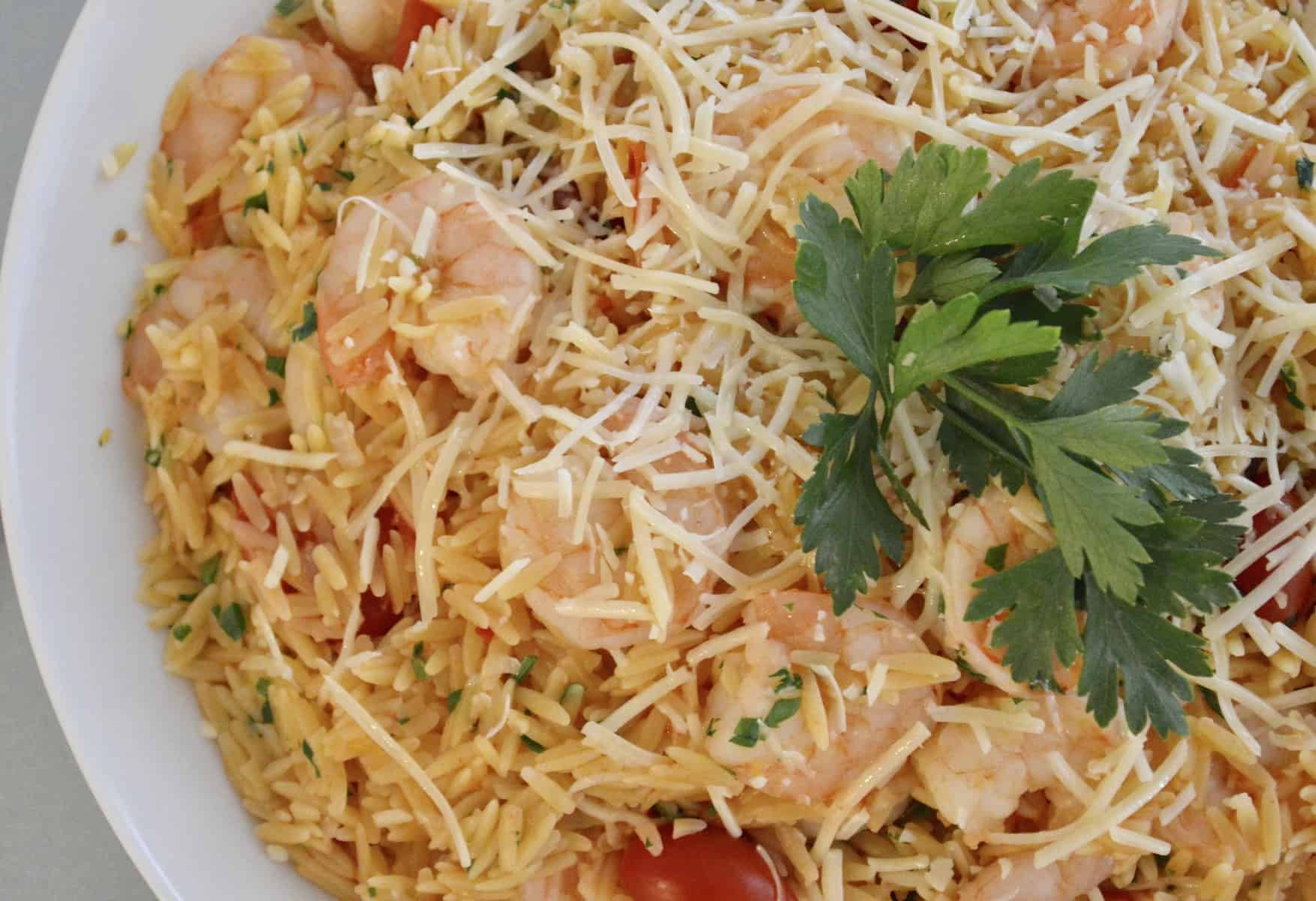 pasta in a white bowl with cherry tomatoes and parsley and parmesan on top.