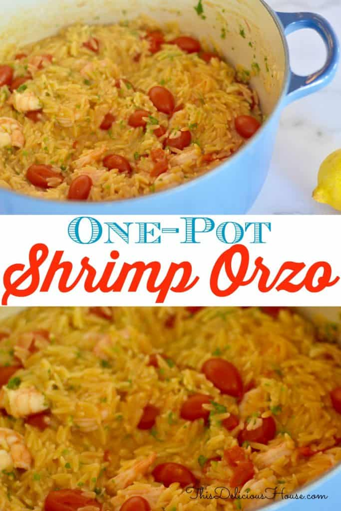 One-Pot Shrimp Orzo Pinterest Pin.