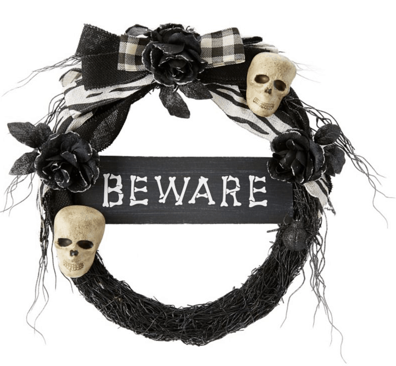 Beware Skull wreath.