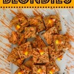 Candy Corn Blondies Bars with white chocolate chips and sprinkles