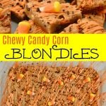 Candy Corn Blondies Bars with white chocolate chips and sprinkles.