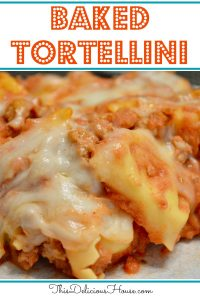Baked Tortellini Casserole with ricotta and ground turkey