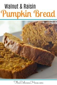 Pumpkin Walnut Raisin Bread
