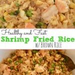 Shrimp Fried Brown Rice with peas and corn in a large white serving bowl