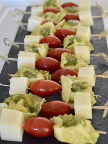 Pesto Tortellini Skewers for party appetizer