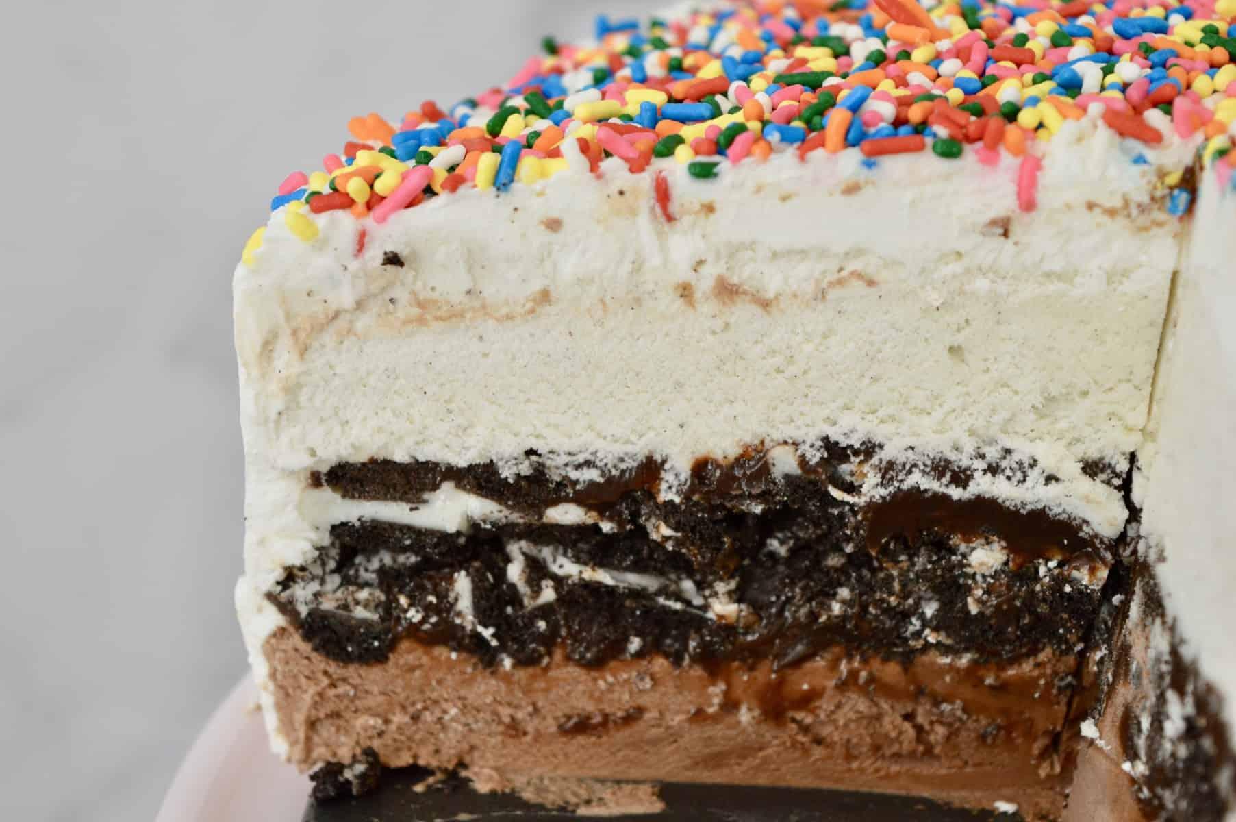 slice of ice cream cake.