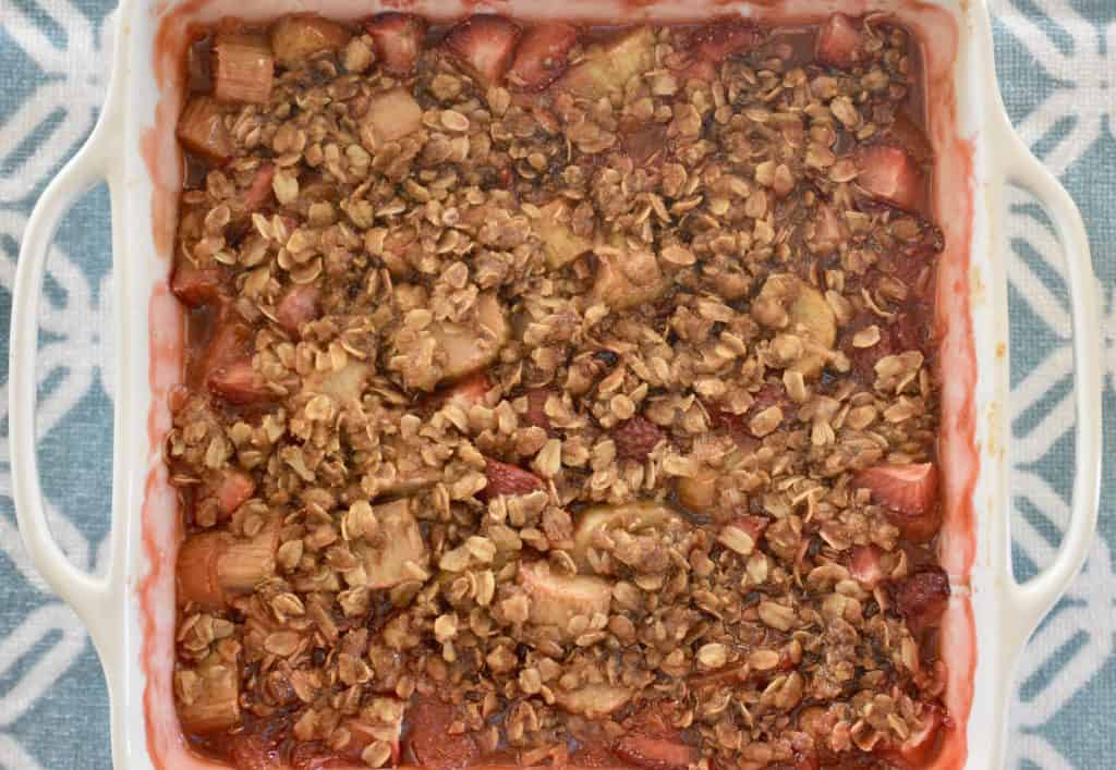 Strawberry Rhubarb Crisp baked and out of the oven