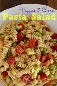 pasta salad with veggies and corn