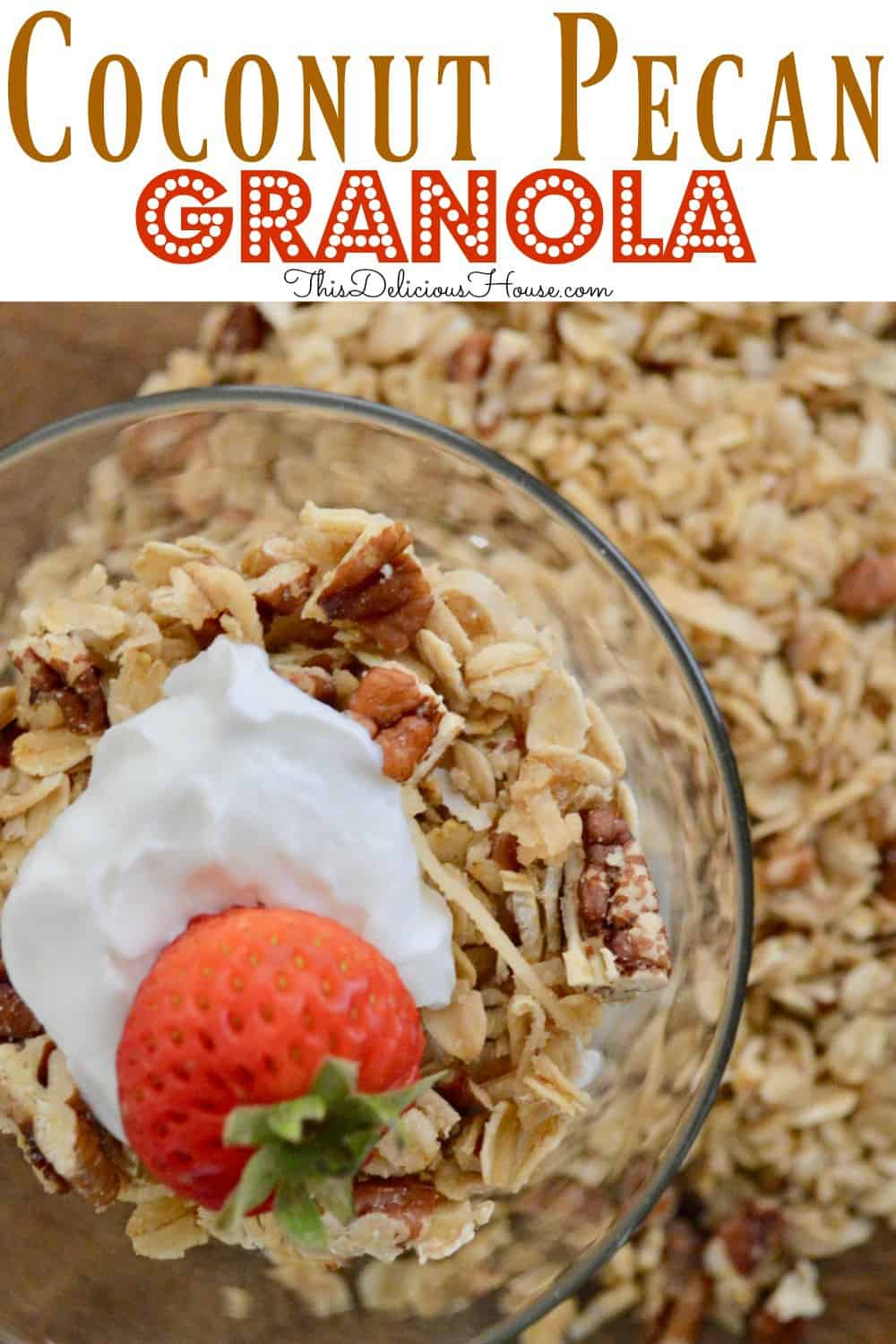 coconut pecan granola pinterest pin.