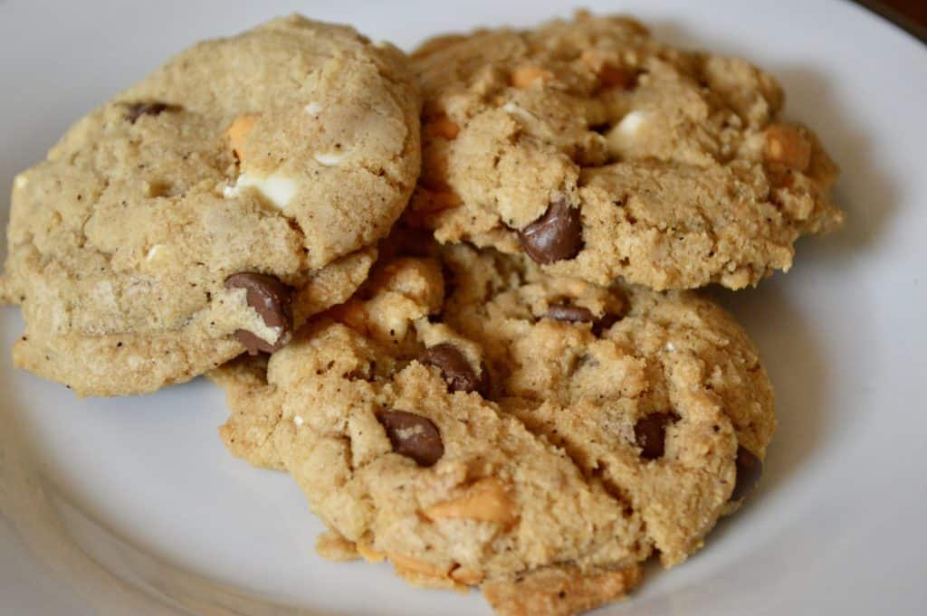 Triple Chocolate Chip Cookies on a white plate