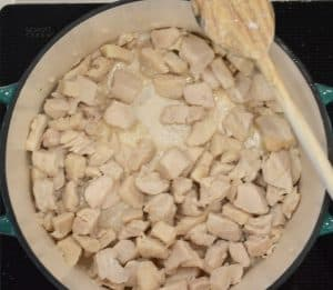 chicken cooking on stove