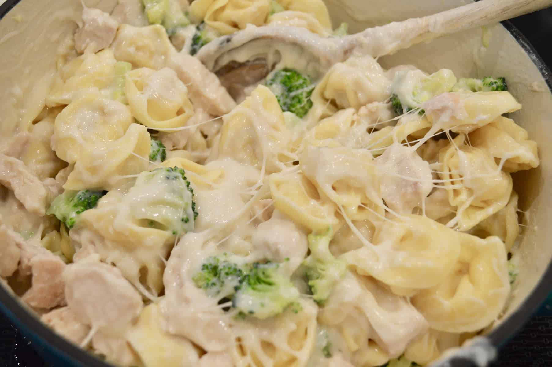 Chicken and Broccoli Tortellini in a large pot on the stove