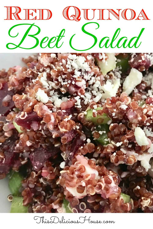 red quinoa beet salad pinterest pin.