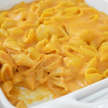 pumpkin Mac and cheese in a white serving plate