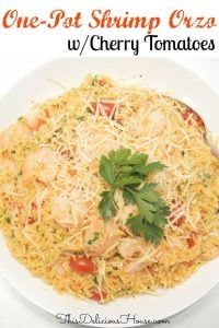 one pot shrimp orzo with cherry tomatoes, parsley, and parmesan