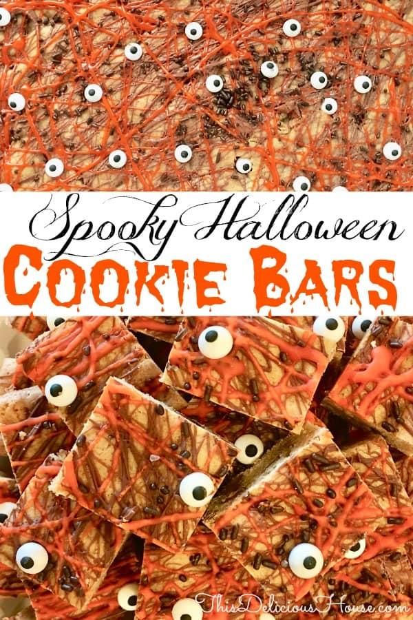 halloween cookie bars Pinterest pin.