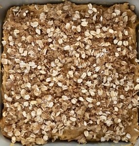 oats, brown sugar, and butter streusel topping for pumpkin streusel coffee cake