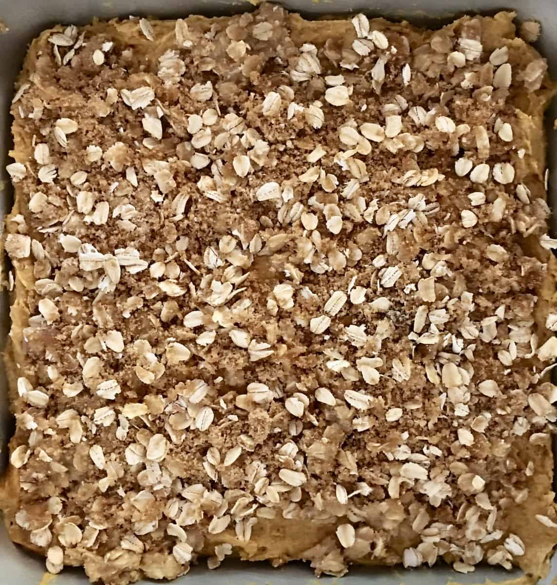 oats, brown sugar, and butter streusel topping for pumpkin streusel coffee cake.
